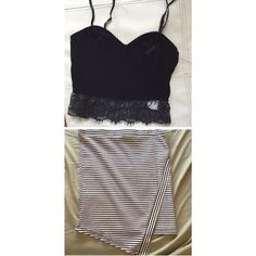 Outfit bundle skirt & top Top new with tags• skirt is like new never worn no tags top xs bottom small Skirts Mini