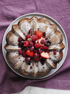 Once in a while a new recipe comes along that really knocks our socks off. This month, it's this simple buttermilk bundt cake laden with fresh berries. True, our berry… New Recipes, Baking Recipes, Favorite Recipes, Baking Ideas, Sweetened Whipped Cream, Creamed Honey, Williams Sonoma, What To Cook, Berries