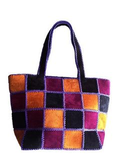 Multicolored Real Leather Women's Tote
