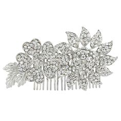 EVER FAITH Gorgeous Dual Flower Leaf Clear Austrian Crystal Hair Comb -- For more information, visit image link.