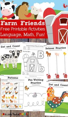 Free Farm Friends Printable Activity Pack: 35 pages of activities for your child to learn math and language including do-a-dot pages, coloring, pre-wr Farm Activities, Cutting Activities, Animal Activities, Language Activities, Kids Printable Activities, Farm Animals Preschool, Free Preschool, Preschool Farm Theme, Farm Theme Classroom
