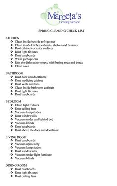 Professional House Cleaning Checklist   Cleaning Checklist