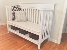 Repurposed crib to bench, DIY, navy wife, military, nurse, registered nurse