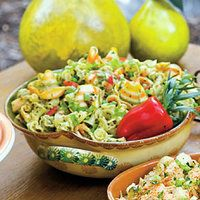 Pasta Salad with Herb Pesto and Peas   http://www.rachaelraymag.com/Recipes/rachael-ray-magazine-recipe-search/salad-recipes/pasta-salad-with-herb-pesto-and-peas