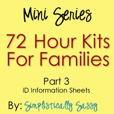 Simplistically Sassy: 72 Hour Kits for Families Part 3