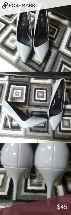 Aldo asymmeyrical pump Heather gray patent leather Aldo heel. Perfect for the office or for date night.  Minor scuffs on heels as seen in last pic. Aldo Shoes Heels