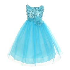 f967cc0891d64c Little Girls Turquoise Sequin Tulle Flower Girl Special Occasion Dress 2-6