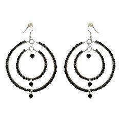 Large Black Beaded Circle Earrings Fashion Jewelry Artisan Crafted   ShalinIndia - Jewelry on ArtFire