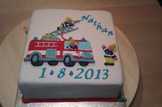 Geboortetaart Nathan brandweerwagen