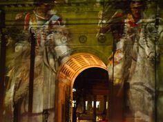 Wellington Arch with projection from Waterloo re-enactement for one night only