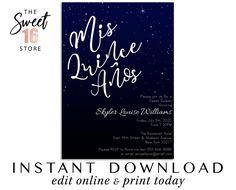 Sweet 16 Invitations, Glamorous Night sky and Stars Black Navy Sweet Sixteen invite Template, E Quince Invitations, Sweet 16 Invitations, Quinceanera Invitations, Night Sky Stars, Night Skies, Glitter Party Decorations, Text Message Invitations, Drink Labels, Edit Online