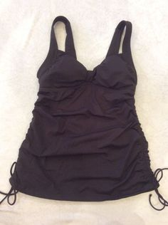 Lands End 6 Tankini Swimsuit Top adjustable Ruched Sides Dark Brown Womens Swim #LandsEnd #TankiniTop
