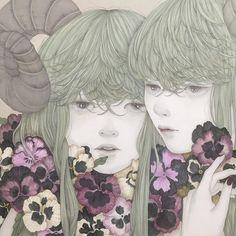 detail 麻紙に墨、岩絵具 natural mineral pigments, Japanese ink on hemp paper #illustration #art#japanesepainting#日本画#イラスト#アート#絵#パンジー