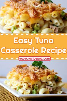 Easy Tuna Casserole Recipe - try this super easy tuna recipe and share it with your loved ones , this is one if the best tuna casserole recipes . Tuna Macaroni Casserole, Tuna Casserole Recipes, Macaroni And Cheese, Easy Tuna Recipes, Easy Dinner Recipes, Great Recipes, French Fried Onions, Casseroles, Super Easy
