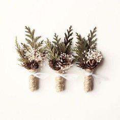 Wedding boutonniere Winter wedding groomsmen button by whichgoose