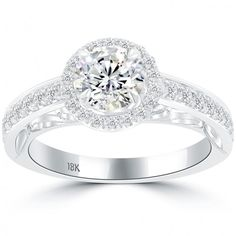 1.50 Carat F-SI1 Natural Round Diamond Engagement Ring 18k Gold Vintage Style - Thumbnail 1