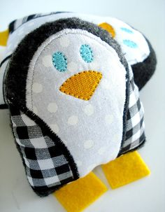 Penguin Softie Embroidery Design for Machine Embroidery - Softie In-The-Hoop. $3.99, via Etsy.