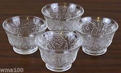 Antique Tiara Glassware Prices | Piece Set Vintage Clear Glass Sandwich Tiara Individual Bowls or ...