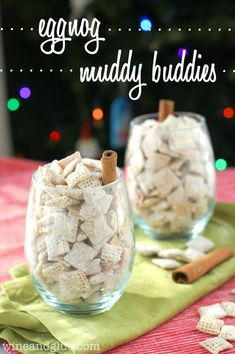 Delicious puppy chow flavored like your favorite holiday drink! Puppy Chow Recipes, Chex Mix Recipes, Snack Recipes, Dessert Recipes, Baking Desserts, Healthy Desserts, Easy Desserts, Chex Mix Muddy Buddies, Muddy Buddies Recipe