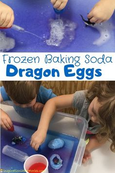Add a fun twist to a classic baking soda and vinegar science exploration by making frozen baking soda dragon eggs.