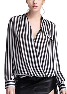 OL Style V Neck High Low Striped Blouse | Rosewe.com