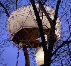 Lantern in the SkyThis is a splendid tree house, inspired by a Japanese lantern and architect Buckminster Fuller's geodesic dome.