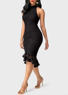 Sleeveless Frill Hem Black Sheath Dress | Rosewe.com - USD $42.51