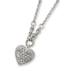 "Sterling Silver Cz heart 16"" necklace   www.scottsceativetrenz.com $166.00"
