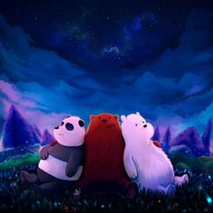 """This is a fan art for """"We Bare Bears"""", a cartoon show that aired in Cartoon Network fairly recently. We Bare Bears We Bare Bears Wallpapers, Panda Wallpapers, Cute Cartoon Wallpapers, Cartoon Wallpaper Iphone, Bear Wallpaper, Cute Disney Wallpaper, Mobile Wallpaper, Ice Bear We Bare Bears, We Bear"""