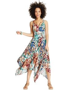 American Rag Printed Asymmetrical-Hem Dress - Juniors Dresses - Macy's