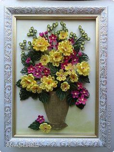 Картина панно рисунок Квиллинг Букет в бронзовой вазе Бумага фото 6