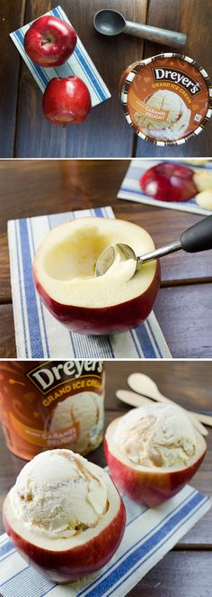 Dreyer's Caramel Apple Delight: Take the idea of a caramel apple to a whole new level: try serving a scoop of Dreyer's Caramel Delight ice cream in a sweet, crunchy apple bowl! Just cut the top off each apple and hollow out the inside. Then scoop in the ice cream and enjoy this deliciously simple treat!
