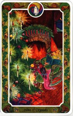 christmas+tarot+cards - Cerca con Google.  The Nine of Crystals...  or Nine of Pentacles.