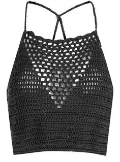 Black Crochet Halterneck Crop Top
