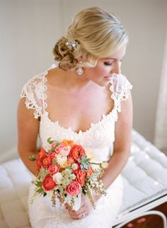 gorgeous Bride in a dress by http://www.clairepettibone.com/ and hair accessories by http://amandajudgeny.com/ Photography by Matt Edge Photography / mattedgeweddings.com, Floral Design by Spiral Hand / spiralhand.com/