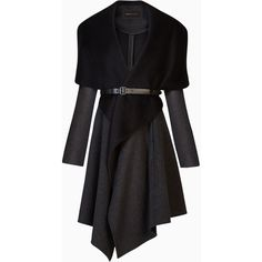 BCBGMAXAZRIA Mandi Wrap Coat (1.345 BRL) ❤ liked on Polyvore featuring outerwear, coats, jackets, dresses, coats & jackets, gray wrap coat, drape coat, real leather coats, wrap coat and gray leather coat