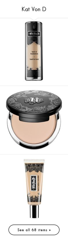 """Kat Von D"" by shoppings9 ❤ liked on Polyvore featuring beauty products, makeup, face makeup, foundation, paraben free foundation, moisturizing foundation, kat von d foundation, spray foundation, matte finish foundation en beauty"