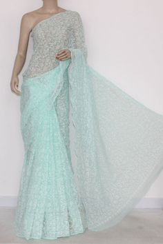 Light Green Hand Embroidered Lucknowi Chikankari Saree (With Blouse - Georgette) Allover Tepchi Work 14583