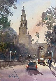 """San Diego Watercolor Society Workshop Finished"" - Original Fine Art for Sale - © Keiko Tanabe"