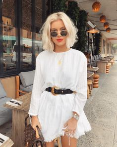 Sep 2019 - Pretty little white dress with cute fringed hem and chic black leather belt. Street Style Outfits, Chic Outfits, Fashion Outfits, Spring Summer Fashion, Spring Outfits, Autumn Fashion, Laura Jade Stone, Love Fashion, Girl Fashion