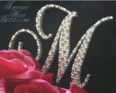 "Here are two monogram wedding cake toppers which say ""M"". Ok, now that we come to monogram cake toppers, why not talk more information . Monogram Cake Toppers, Personalized Cake Toppers, Wedding Cake Toppers, Wedding Cakes, M Monogram, Wedding Stills, Crystal Cake, Pink Sparkles, Bling Wedding"