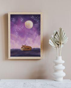 Magical Fox Print - Digital Fantasy Painting of a sleeping fox with a moon von TerraSomniaArt auf Etsy Sleeping Fox, Fox Print, Fantasy Kunst, Fantasy Paintings, Poster Prints, Moon, Etsy, Animal, Digital