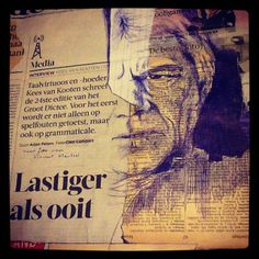 18th December - Master of Dutch language #dailydrawing - bic and collage on newspaper