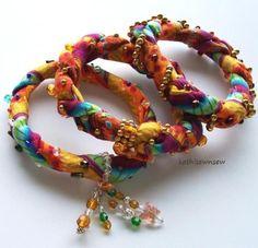 Bangle Bracelets set of 3 Twisted Colorful Soft Cotton Fabric | kathisewnsew - Jewelry on ArtFire