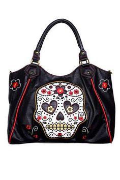 Banned Sugar Skull Shoulder Bag - Bbn748Blk - Dark Fashion Clothing