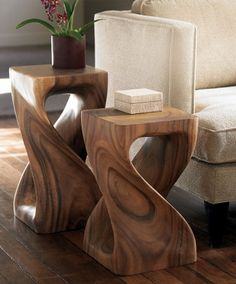 table stool interior design interiors side table pedestal spiral twist money pod wood wood