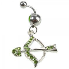 Love this ! Unique Bow Arrow Shaped Design Navel Ring sparkly green crystals