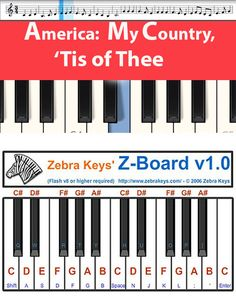 Learn how to play the melody for My Country, 'Tis of Thee, playing only the notes for the melody only for easy-learning. Free Piano Lessons, Music Lessons, Easy Piano Songs, Piano Music, Finger Exercises, Song Play, Free Sheet Music, Online Tutorials, Music For Kids