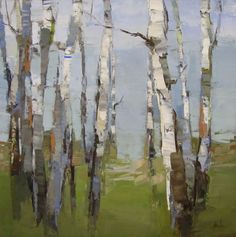 "Birch Group by Barbara Flowers (36"" x 36"")"