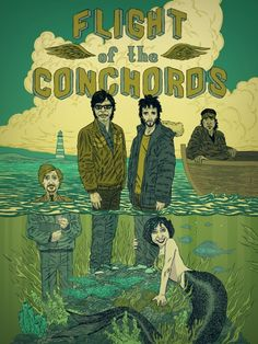 Flight of the Conchords without a doubt one of my most favourite shows! Flight Of The Conchords, Comedy Duos, Title Card, Music Tv, Cool Posters, Best Shows Ever, Cool Bands, Favorite Tv Shows, Illustration Art